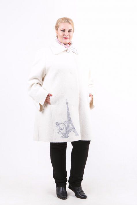 Пальто из драпа с вышивкой, цвет белый в интернет-магазине Фабрики Тревери