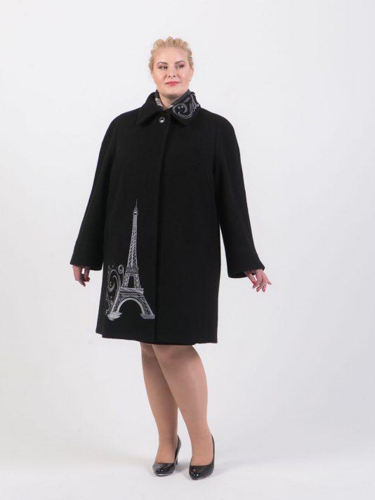 Пальто из драпа с вышивкой, цвет черный в интернет-магазине Фабрики Тревери