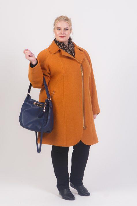 Пальто из драпа варенка на молнии, цвет коричневый в интернет-магазине Фабрики Тревери