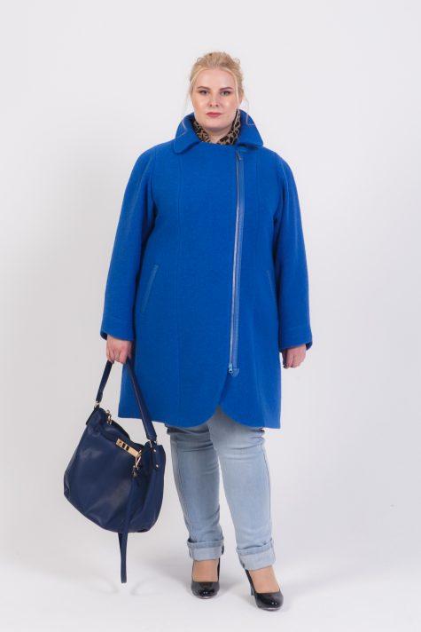 Пальто из драпа варенка на молнии, цвет синий в интернет-магазине Фабрики Тревери