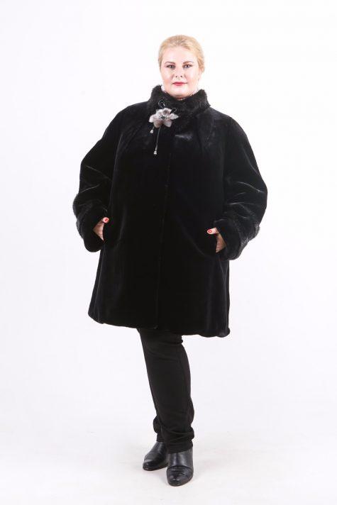 Полушубок из мутона Тиссавель, цвет черный в интернет-магазине Фабрики Тревери
