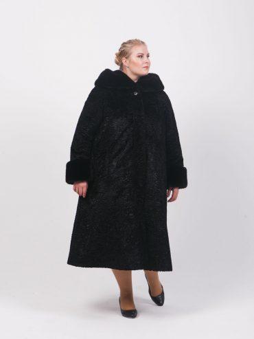 Шуба из меха Тиссавель под каракуль, цвет черный в интернет-магазине Фабрики Тревери
