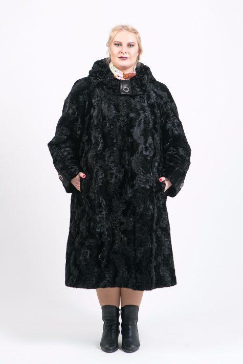Шуба из Тиссавель под каракуль, цвет черный в интернет-магазине Фабрики Тревери