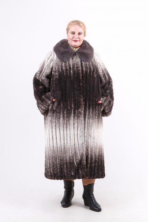 Шуба из Тиссавель под шиншиллу, цвет серый в интернет-магазине Фабрики Тревери