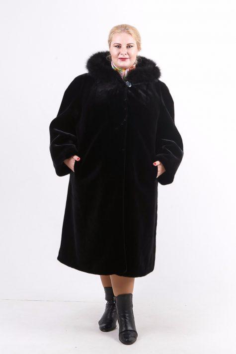 Шуба под мутон из меха Тиссавель, цвет черный в интернет-магазине Фабрики Тревери