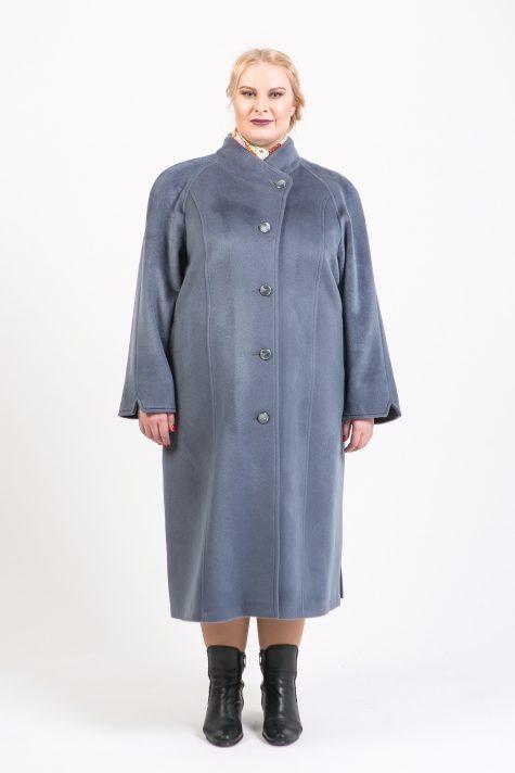 Длинное шерстяное пальто на стойке, цвет серый в интернет-магазине Фабрики Тревери