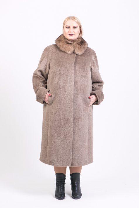 Пальто из Альпака с горжеткой, цвет бежевый в интернет-магазине Фабрики Тревери