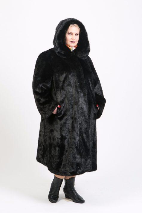 Шуба под норку с капюшоном, цвет черный в интернет-магазине Фабрики Тревери