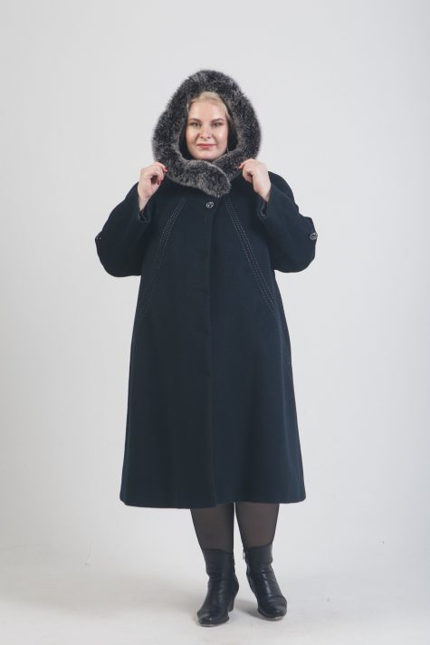 Зимнее пальто из Альпаки с песцом, цвет черный в интернет-магазине Фабрики Тревери
