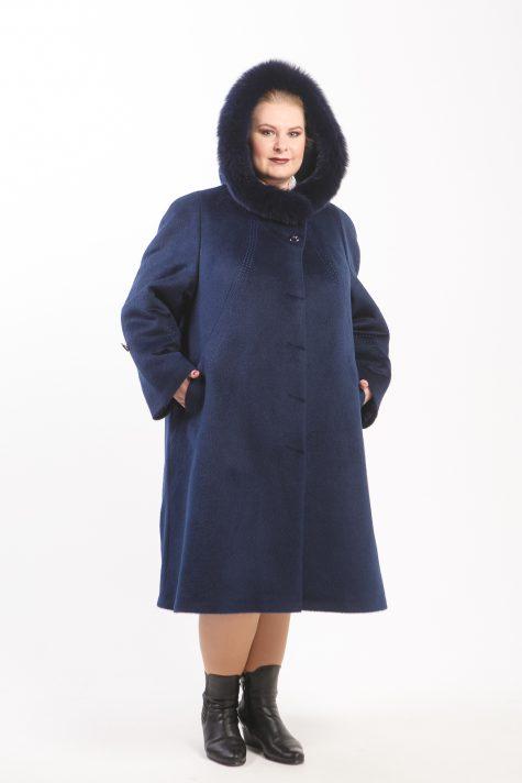 Зимнее пальто из Альпаки с песцом, цвет синий в интернет-магазине Фабрики Тревери