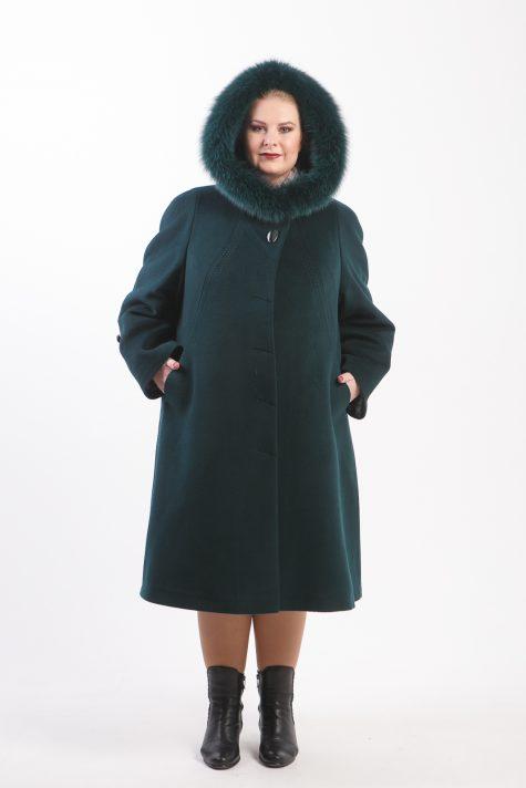 Зимнее пальто из Альпаки с песцом, цвет зеленый в интернет-магазине Фабрики Тревери