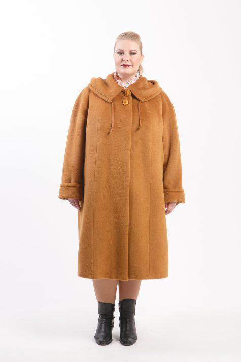 Демисезонное пальто из Альпака, цвет рыжий в интернет-магазине Фабрики Тревери