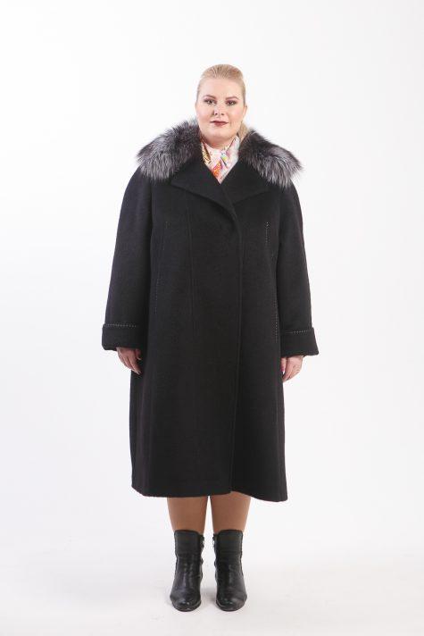 Пальто из Альпаки с чернобуркой, цвет черный в интернет-магазине Фабрики Тревери