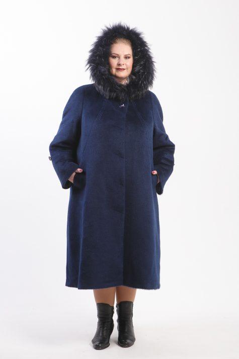 Пальто из Альпаки с енотом, цвет синий в интернет-магазине Фабрики Тревери