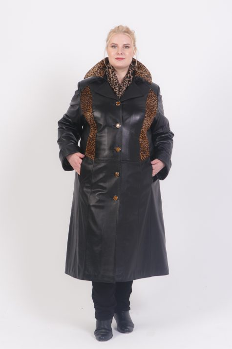 Пальто из кожи телёнка, цвет черный в интернет-магазине Фабрики Тревери