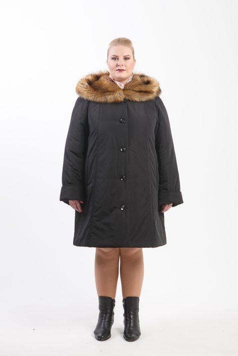 Пальто из плащевки с отделкой енотом, цвет черный в интернет-магазине Фабрики Тревери
