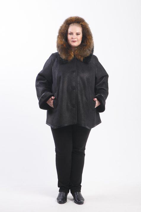 Зимняя дубленка из эко-меха, цвет черный в интернет-магазине Фабрики Тревери