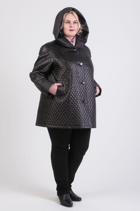 Черное пальто из двух видов стежки, цвет черный в интернет-магазине Фабрики Тревери