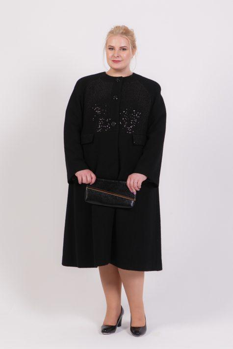 Длинное черное пальто Шанель, цвет черный в интернет-магазине Фабрики Тревери