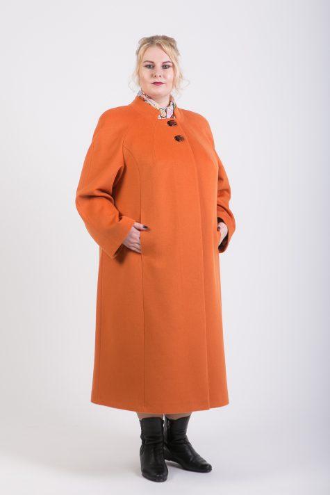Длинное пальто из 100% шерсти, цвет рыжий в интернет-магазине Фабрики Тревери