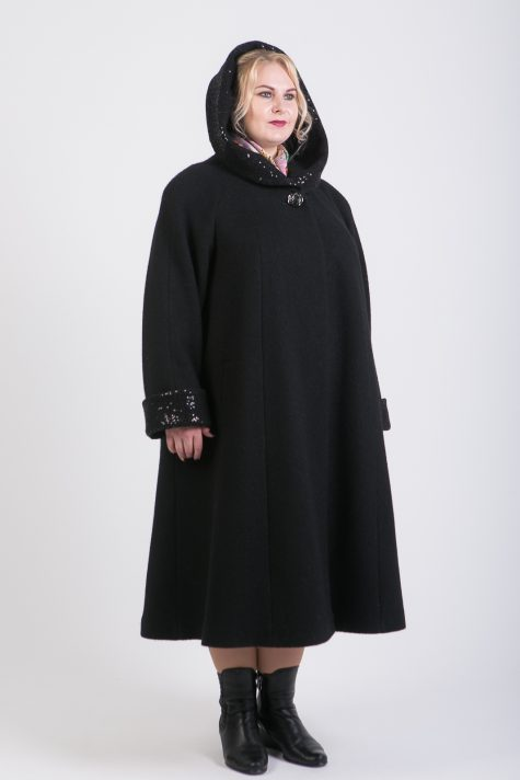 Длинное пальто из 2 видов драпа, цвет черный в интернет-магазине Фабрики Тревери
