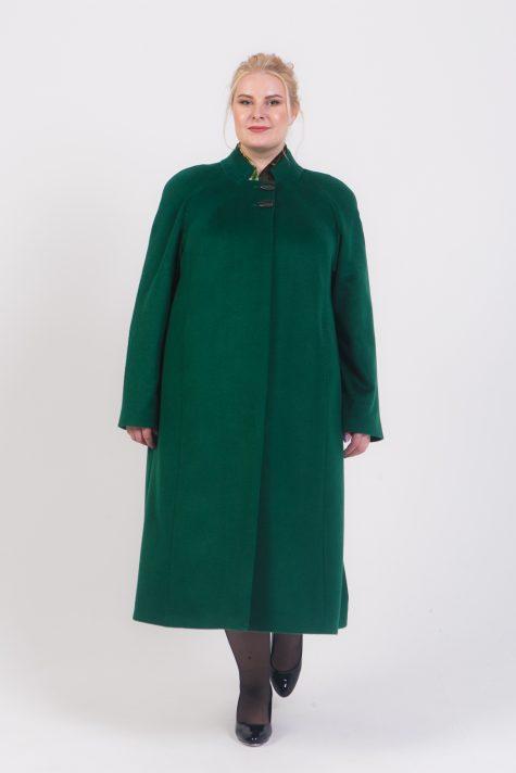 Длинное пальто полутрапеция, цвет зеленый в интернет-магазине Фабрики Тревери