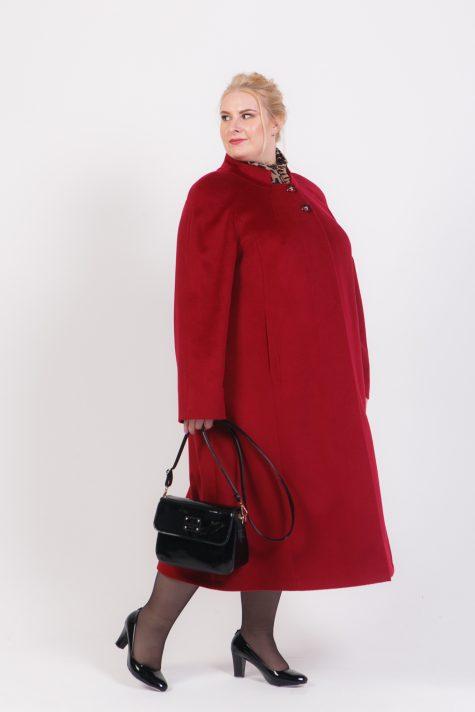 Длинное расклешенное пальто, цвет бордовый в интернет-магазине Фабрики Тревери