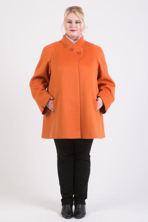 Короткое шерстяное пальто трапеция, цвет рыжий в интернет-магазине Фабрики Тревери