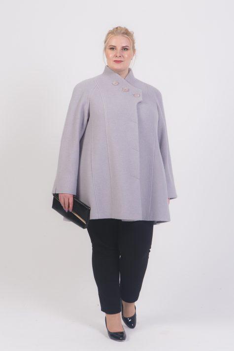 Корткое пальто трапеция из драпа, цвет серый в интернет-магазине Фабрики Тревери