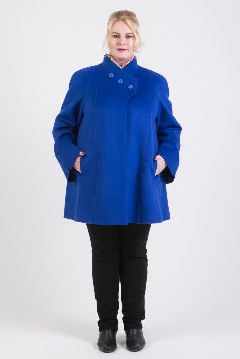 Корткое пальто трапеция из драпа, цвет синий в интернет-магазине Фабрики Тревери