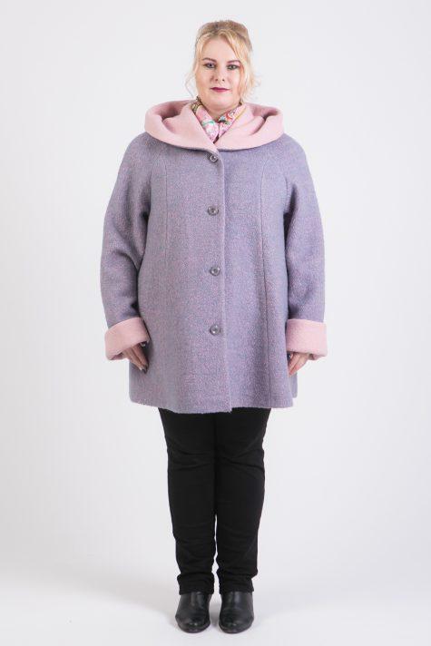 Пальто из двухцветного драпа, цвет серый в интернет-магазине Фабрики Тревери
