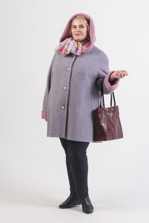 Пальто из двухцветного драпа варенка, цвет серый в интернет-магазине Фабрики Тревери