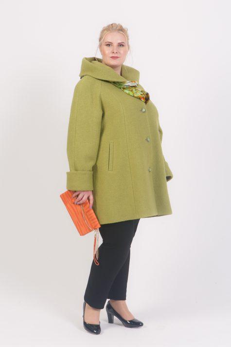 Пальто с капюшоном из драпа, цвет оливковый в интернет-магазине Фабрики Тревери