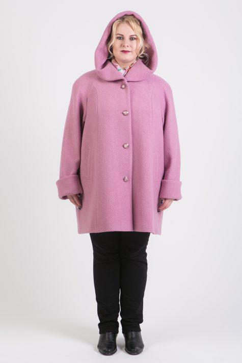 Пальто с капюшоном из драпа, цвет розовый в интернет-магазине Фабрики Тревери