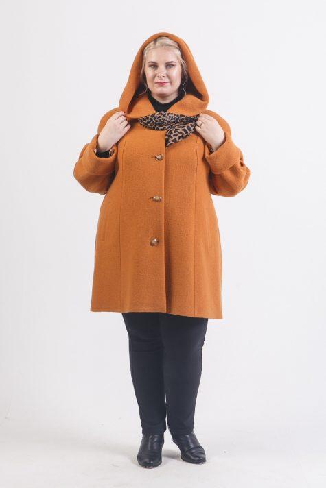 Пальто с капюшоном из драпа, цвет рыжий в интернет-магазине Фабрики Тревери