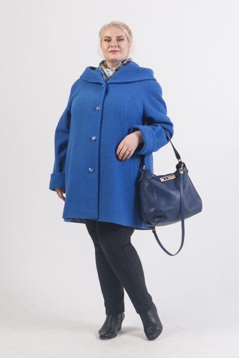 Пальто с капюшоном из драпа, цвет синий в интернет-магазине Фабрики Тревери
