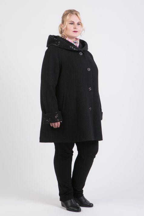 Пальто трапеция из 2 видов драпа, цвет черный в интернет-магазине Фабрики Тревери