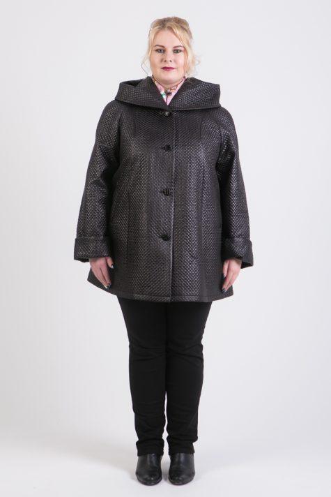 Пальто трапеция из геометрической стежки, цвет черный в интернет-магазине Фабрики Тревери