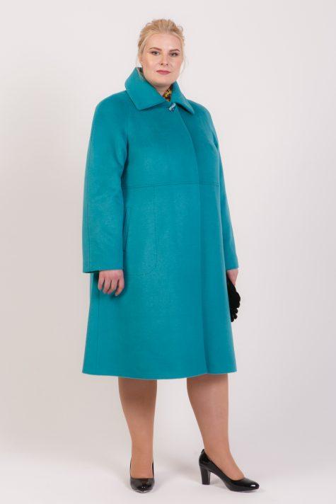 Пальто трапеция с отложным воротником, цвет бирюзовый в интернет-магазине Фабрики Тревери