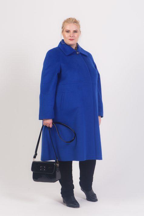 Пальто трапеция с отложным воротником, цвет синий в интернет-магазине Фабрики Тревери