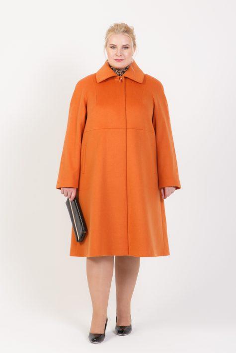 Шерстяное пальто силуэта трапеция, цвет рыжий в интернет-магазине Фабрики Тревери