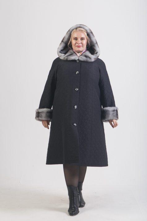 Зимнее длинное пальто трапеция, цвет черный в интернет-магазине Фабрики Тревери