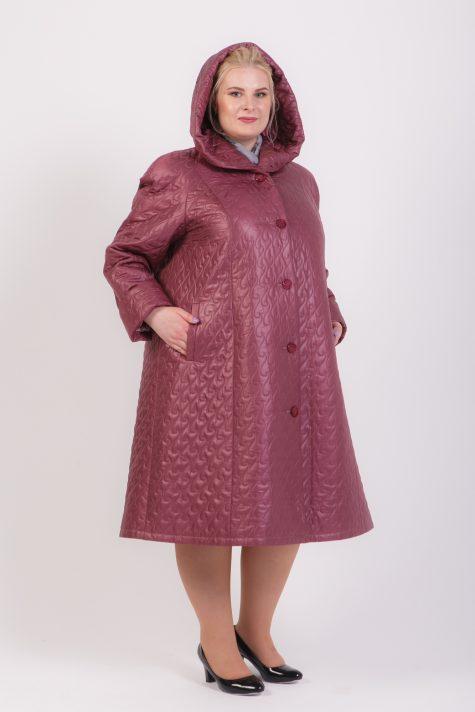 Пальто из стежки брусничного цвета, цвет светло-розовый в интернет-магазине Фабрики Тревери