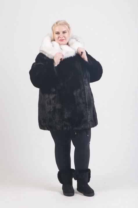 Полушубок под норку из меха Тиссавель, цвет черный в интернет-магазине Фабрики Тревери