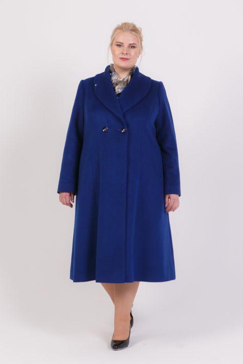 Демисезонное пальто редингот, цвет синий в интернет-магазине Фабрики Тревери