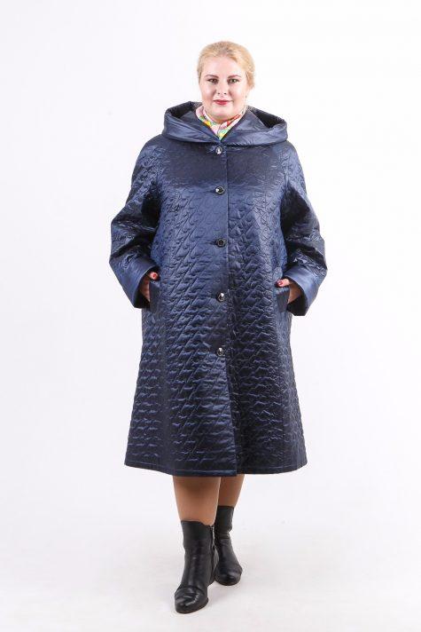 Длинное пальто из стежки с капюшоном, цвет синий в интернет-магазине Фабрики Тревери