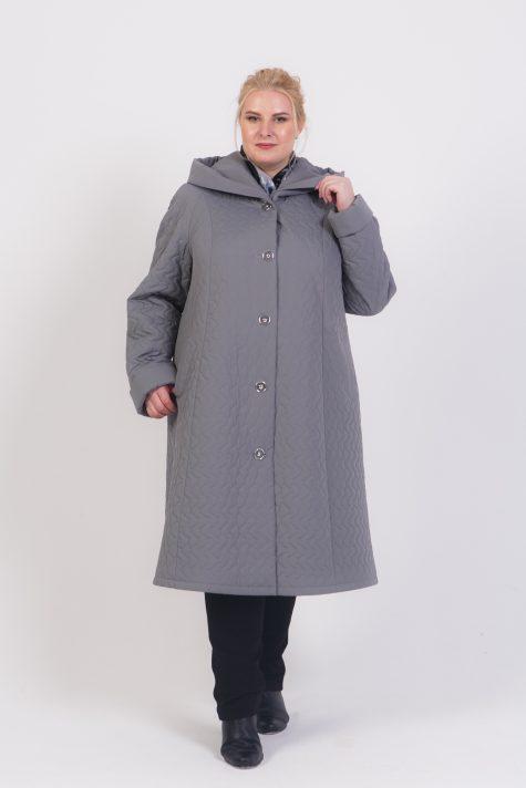 Длинное стеганное пальто с капюшоном, цвет серый в интернет-магазине Фабрики Тревери