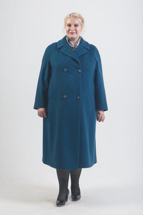 Классическое пальто из кашемира, цвет бирюзовый в интернет-магазине Фабрики Тревери