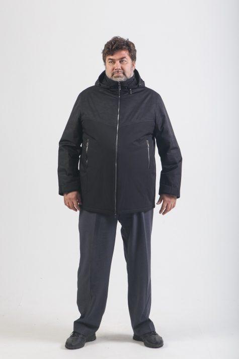 Комбинированная мужская куртка, цвет черный в интернет-магазине Фабрики Тревери