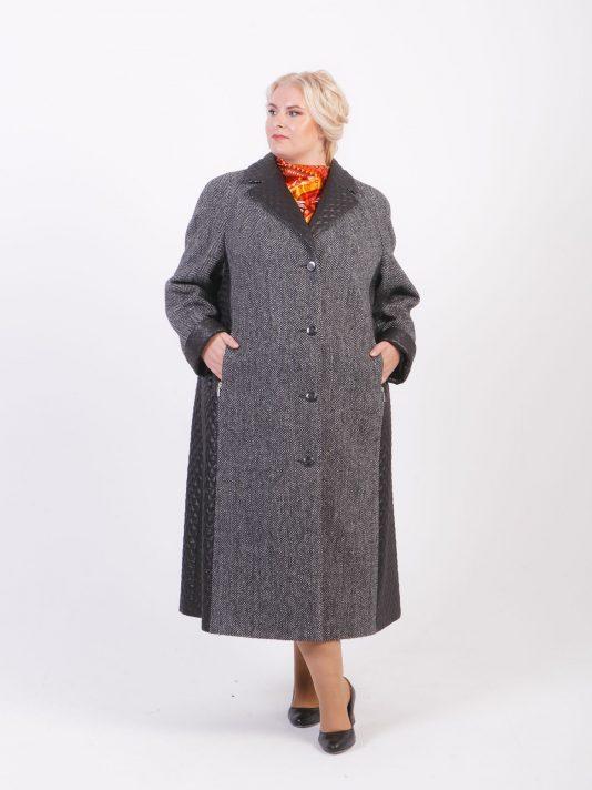 Комбинированное пальто из твида, цвет черный в интернет-магазине Фабрики Тревери